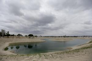 Depleted water reservoir in drought-struck southern California.