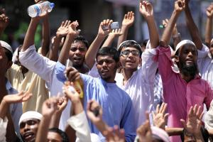 Youngsters protesting in Dhaka, the capital city of Bangladesh.