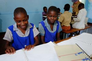 The blind Faith and Violet are attending the Kadoma School for Children with Visual Impairments in Kadoma, Zimbabwe.