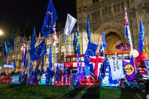 Brexit opponents in front of the Palace of Westminster this week.