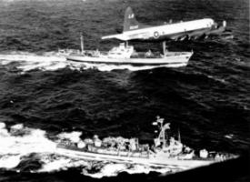 Cuban missile crisis: U.S. Navy demanding to inspect a Soviet cargo vessel in November 1962. For two weeks, nuclear war seemed imminent when Moscow planned to deploy missiles in the Caribbean.