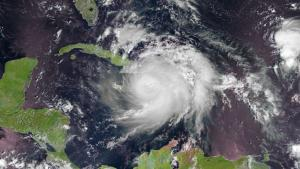 Hurrican Matthew over Haiti, Cuba and Jamaica in October 2016.