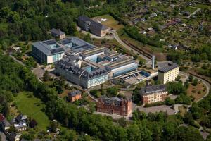 Germany's health-care system largely depends on payroll taxes and ensures universal coverage: district hospital in Greiz, a small town in eastern German.