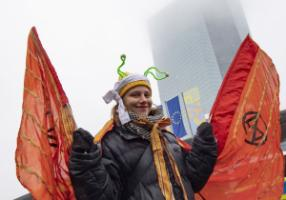 Climate protest in front of the ECB in Frankfurt on 1 November.