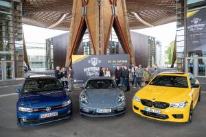 Germany's Federal Government tends to prioritise the interests of the automotive industry over the global transition to sustainability: cars on display for promotional purposes at Hannover fairgrounds in 2019.