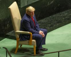 Trump at the UN headquaters in New York.