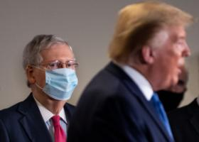 Mitch McConnell did his best to use Trump. The president is gone, but the senator is still in office. The photo was taken in Washington in May 2020.
