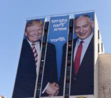 "Divisive leaders: Trump and Netanyahu on an election poster. The writing means: ""Netanyahu, in another league""."