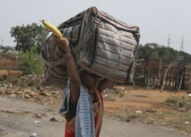 Walking home: a migrant worker leaving Hyderabad in early May