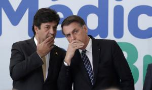 President Bolsonaro (right) grew tired of Health Minister Mandetta's expert advice. This picture was taken before Covid-19, in summer 2019.