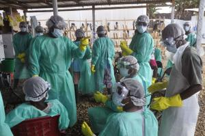 The world should have learned lessons from the Ebola epidemic in West Africa: Health workers in Liberia in January 2015.