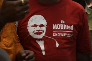 T-shirt seen at BJP victory celebrations in New Delhi.