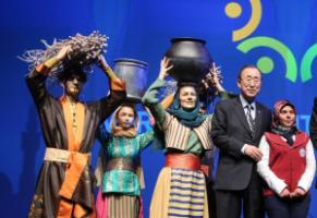 Ban Ki-moon, the UN secretary-general, at the closing ceremony in Istanbul on 24 May.