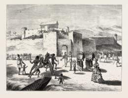 Contemporary picture of Cape Coast Castle, a fortress of British slave traders.