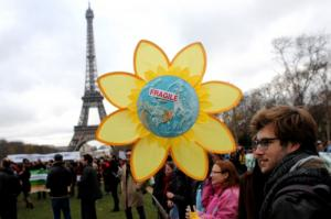 Rally for climate protection during the UN summit in Paris.