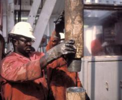 Oil worker on a Niger-Delta platform.
