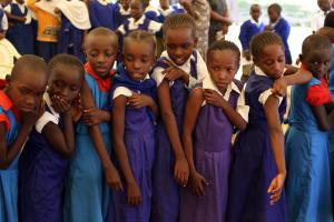 Tanzanian schoolgirls about to receive a Gavi vaccine in 2013.