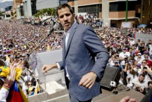 Opposition leader Juan Guaidó addressing a rally in Caracas in early February.