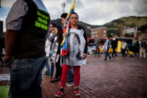 Protestors commemorating the dead in Bogotá in July 2019.