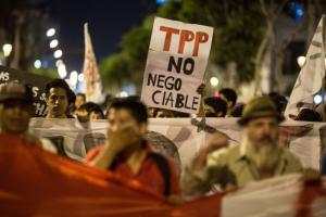 Around 1,500 people protest the TPP in Peru in early February.