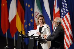 Federica Mogherini, the EU's foreign-policy chief, and Javad Zarif, Iran's foreign minister, elaborating the framework agreement in Lausanne on 2 April.