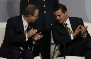 Ban Ki-moon, UN secretary general, and Enrique Pena Nieto, Mexico's president, during the opening ceremony of the High-Level Meeting.