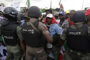 Protest at rising prices in view of fuel-subsidy cuts in Nigeria.