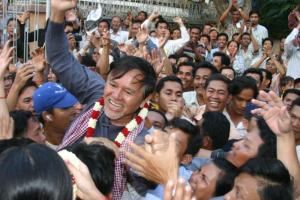 Kem Sokha after his release from prison in January 2006. This time, he faces up to 30 years in jail.