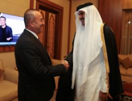 Turkish Foreign Minister Mevlut Cavusoglu in Doha with Emir Tamim bin Hamad Al Thani on 14 June 2017.