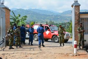 Burundian security forces after an armed attack on a government adviser.