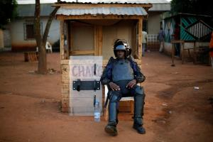 An AU peacekeeper in Bangui in mid-December.
