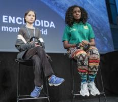 Greta Thunberg and Vanessa Nakata during a side-event at the climate summit in Madrid.