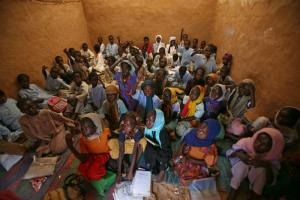 A primary school in a camp in Chad, where refugees from Sudan have settled.