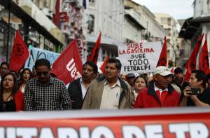 Trade union protests in the Ecuadorian capital Quito at the end of December.