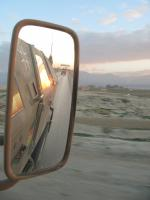 Rear-view mirror of a German army truck.