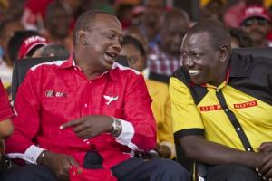 Now we are friends: Kenyatta (left) and Ruto at a campaign event shortly before the presidential elections in 2013.