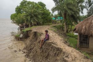 Threatened environment: eroding shoreline of a Sundarban island in the Ganges Delta.