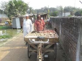 Urban growth must not lock in unsustainable approaches – selling potatoes in peripheral Dhaka.