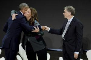 Bill and Melinda Gates with former US President Barack Obama promoting the new report in New York in September