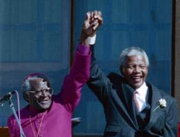 Desmond Tutu and Nelson Mandela in Cape Town in 1995.