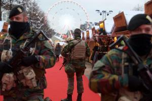 Belgian soldiers patrolling a Christmas fair in Brussels after terror attacks of 2015.