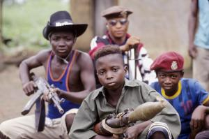 Child soldiers of the Revolutionary United Front (RUF) in Sierra Leone.