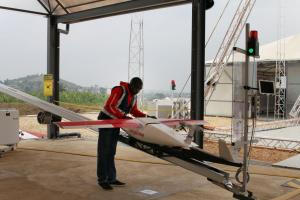 A drone transporting blood to remote areas of Rwanda.