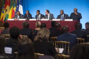 French President François Hollande (third from right) met African leaders to prepare for the UN climate summit. From left: Ethiopian Prime Minister Hailemariam Dessalegn, Guinean President Alpha Conde, Benin's President Thomas Boni Yayi, Gabon's President Ali Bongo and Ghana's President John Dramani Mahama.