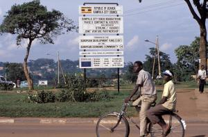 Road work announcement in Kampala, Uganda, funded by the EU.