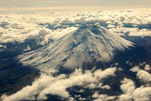 Climate engineering aims to simulate the natural cooling effect of sulphate from volcanic eruptions on the atmosphere. Cotopaxi volcano, Ecuador.