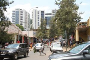 The small and landlocked country of Rwanda lobbies for faster regional integration in Eastern Africa. Downtown Kigali.