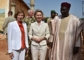 The French and German ministers of defence, Florence Parly and Ursula von der Leyen, with their Nigerian counterpart Kalla Moutari visiting the construction site of the headquarters of the G5 Sahel Joint Force in Niamey in 2017.