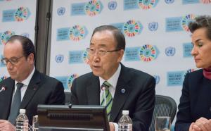 President François Hollande, UN Secretary-General Ban Ki-moon and UNFCCC Executive Secretary Christina Figueres at the climate summit in Paris last year.