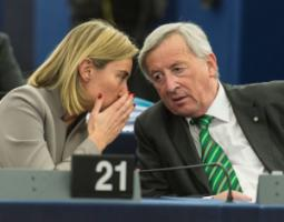 Federica Mogherini, the EU high representative for foreign policy and security affairs, with Jean-Claude Juncker, the commission president.